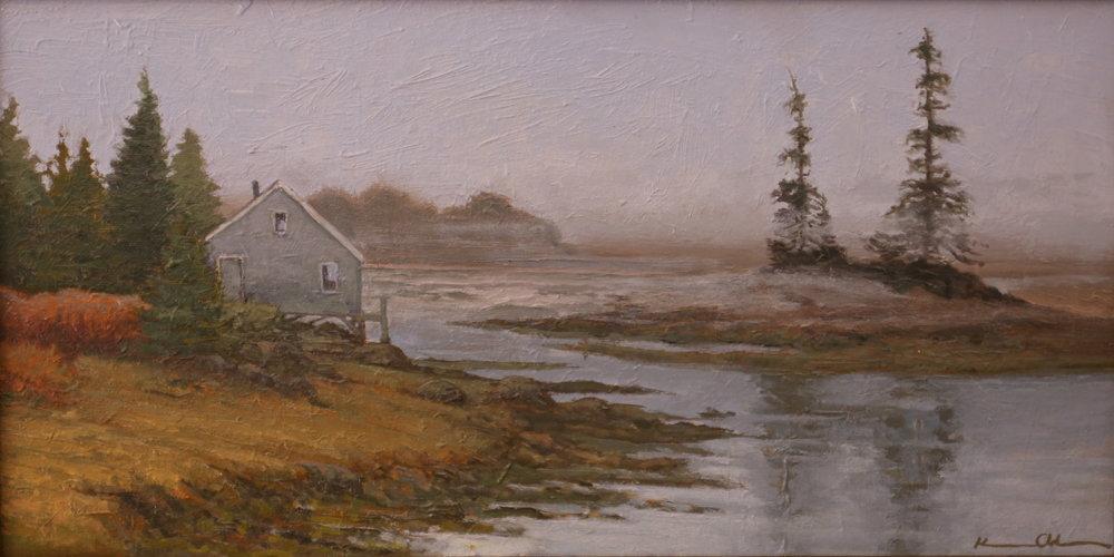 """""""Quiet Morning: Maine"""" 8"""" X 16"""" OOC"""