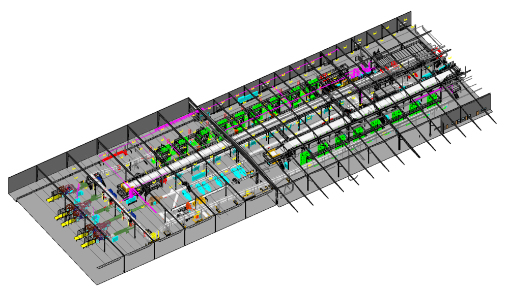 CAD models of processing line created from scan data.