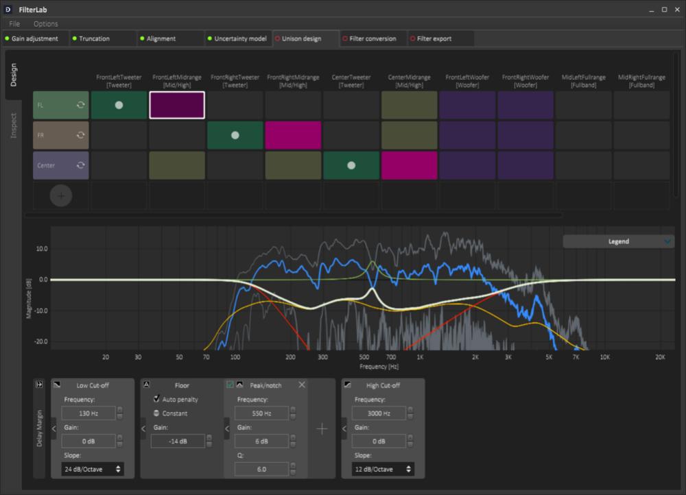 Figure 2:   Watch the sound    - The Dirac Unison design interface in FilterLab