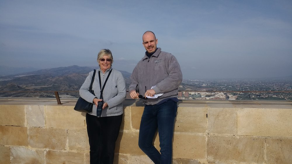 A rather tall leprechaun joined us for the day. Thanks Ben and Barbara - at the top of the world in Lorca Castle, with the city view below