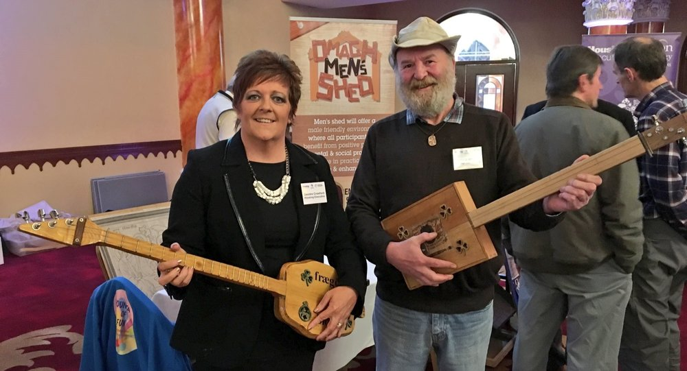 DEIDRE Crawford and John O'Wheelie showcase some of Omagh Men's Shed's work.