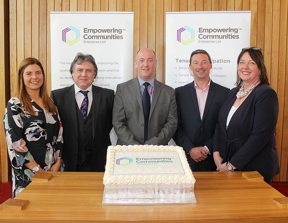Empowering Communities staff and trustees at the launch of the new company. From l-r: Laura O'Dowd, Joe Simpson, Colm McDaid, Steve Pollard, Sheenagh McNally.