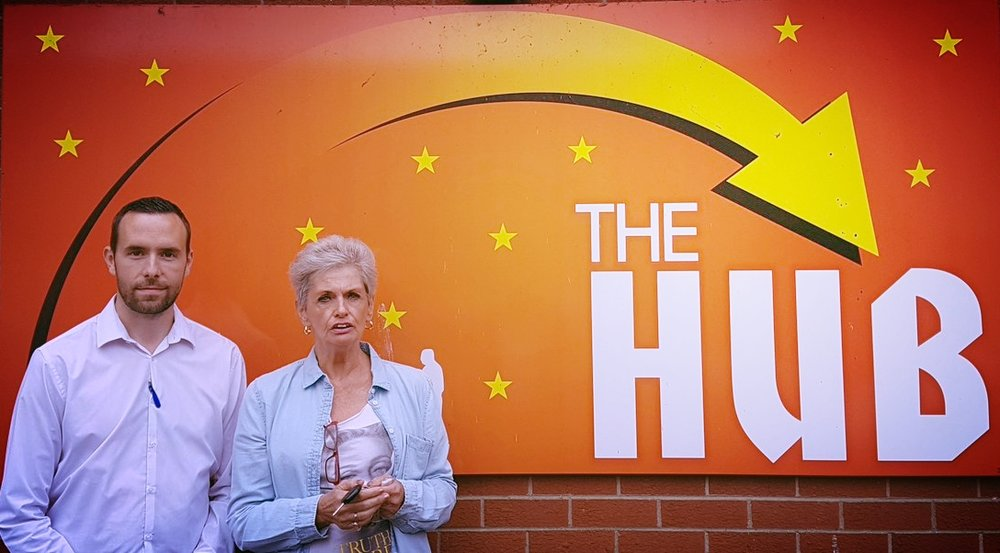 Darragh O'Neill, Supporting Communities, and Hazel Mcguigan at The Hub.