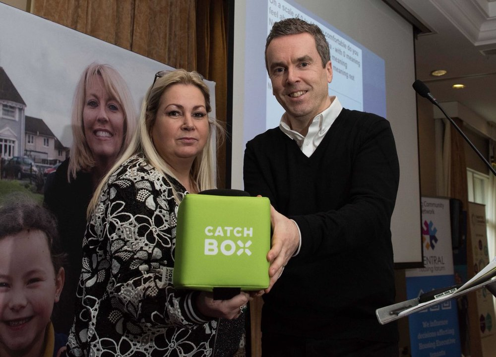 Patricia McQuillan with James Kerr and the now infamous 'catch box'.