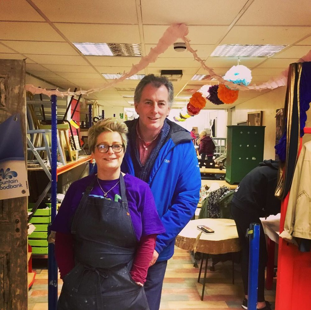 Ailish and Manus Teague, LCCL founders, in the Pop-Up Art workshop on Market Street, Downpatrick.
