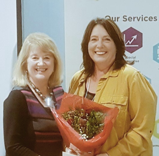 Lorraine Campbell with Sheenagh McNally celebrating a staff anniversary.