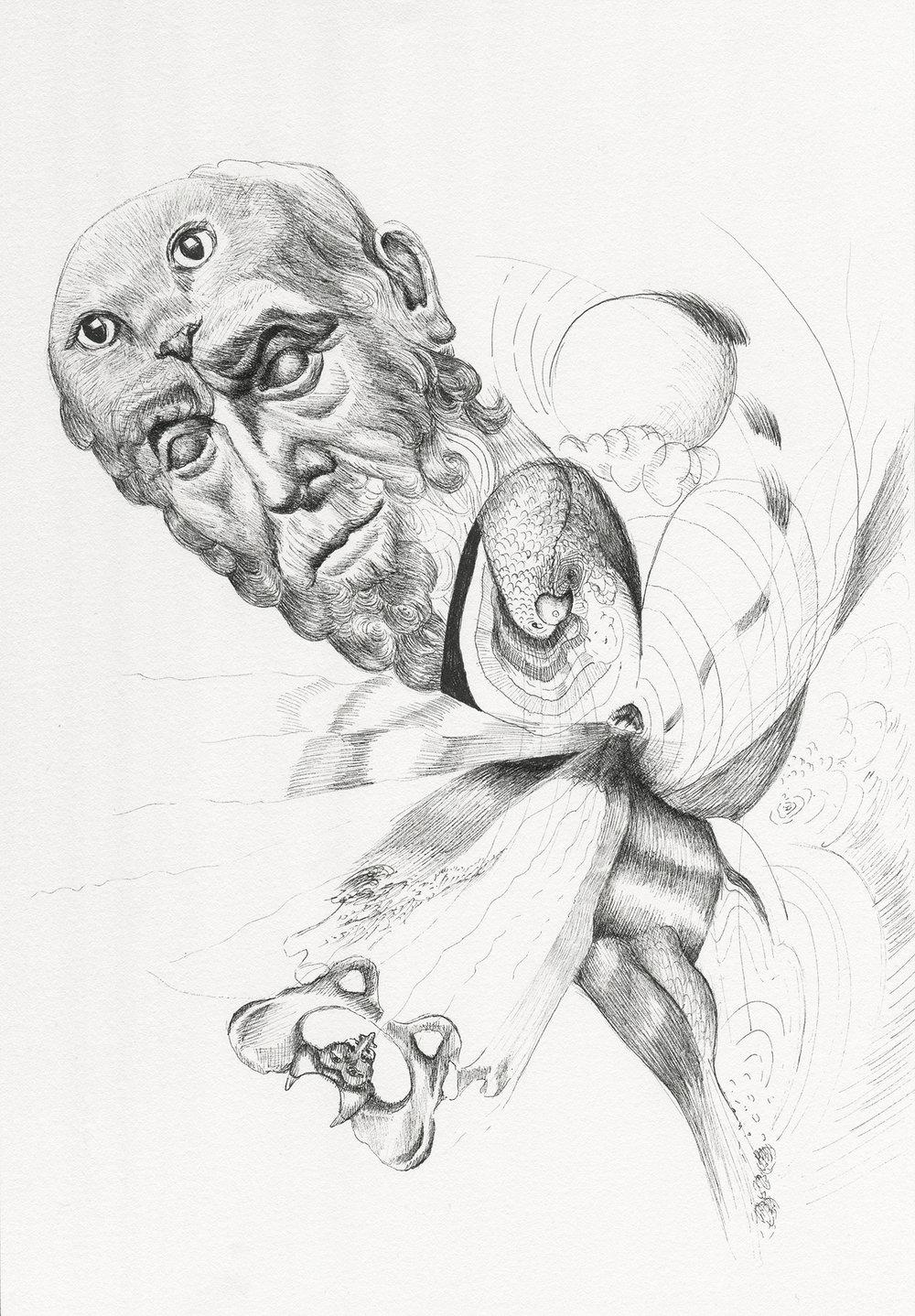 """Hippocrates' Nine Lives"" 2017, 7x10"""