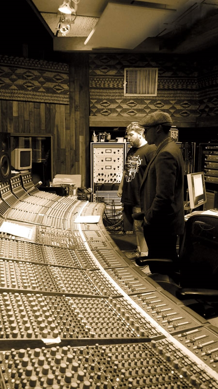 Chuck Brungardt and Raphael Saadiq at Ocean Way Recording Studios