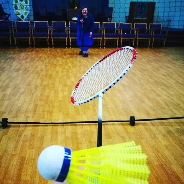 Finished the day off yesterday with an hour of group games. Here's one of our members in their best badminton position! 🎾🏆🏃