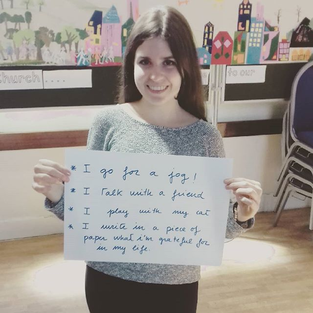 One of our newbie volunteers sharing what she does to relax #mentalhealthawareness