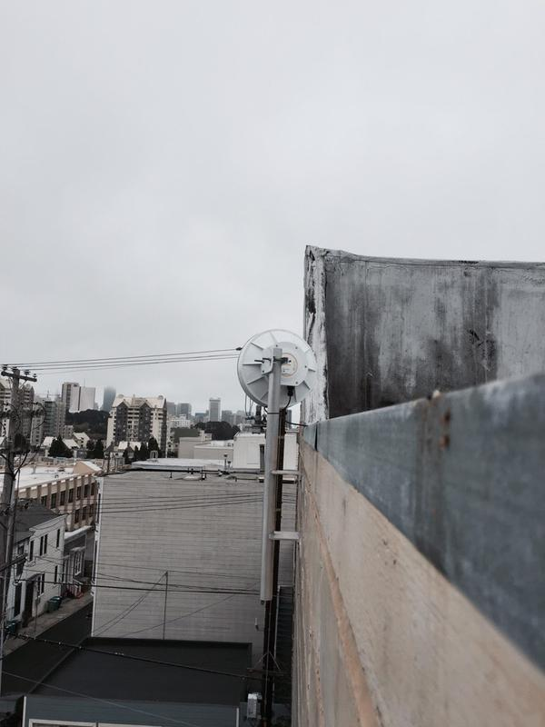 Antenna attached to a roof in San Francisco