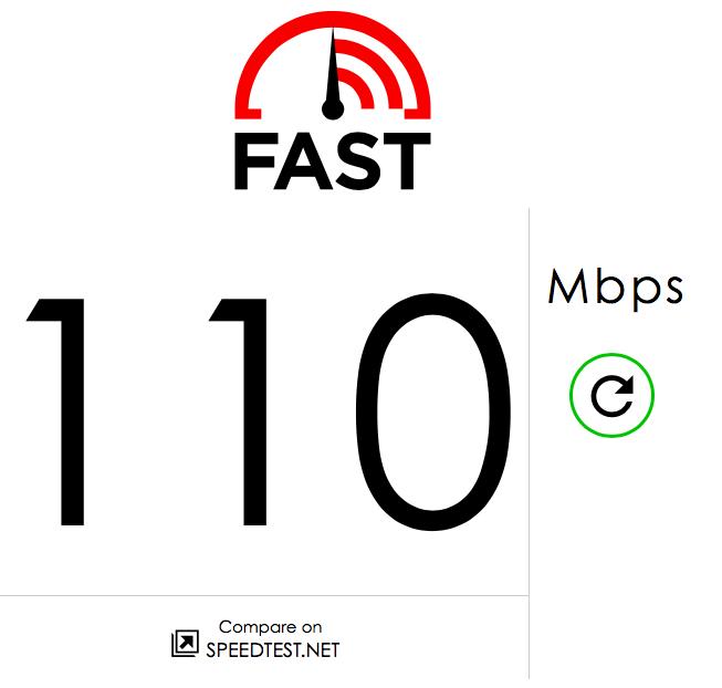 Netflix Fast.com result
