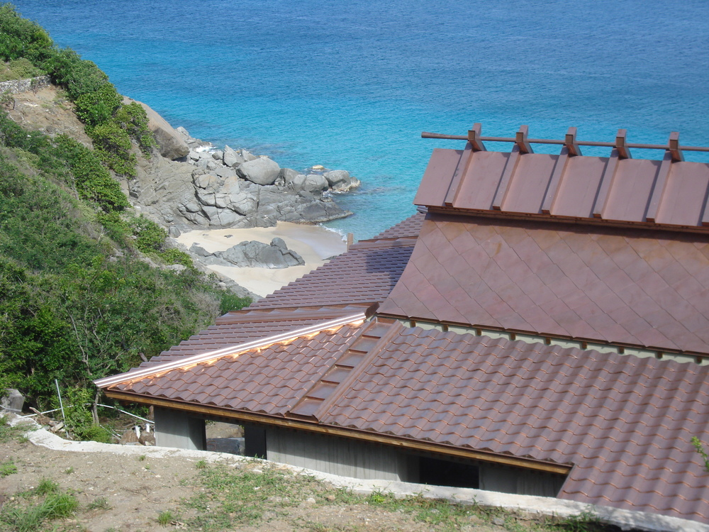 metal roof building by beach