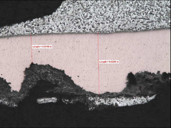 High magnification view of the cross-section at the solder. The remaining cross-section was 46% of the original thickness of approximately 0.026-in.