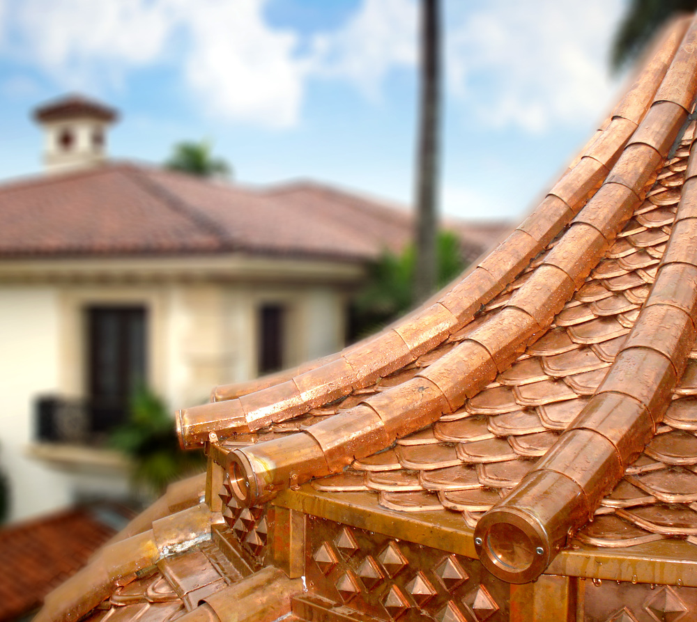 Custom copper ornamental roofing