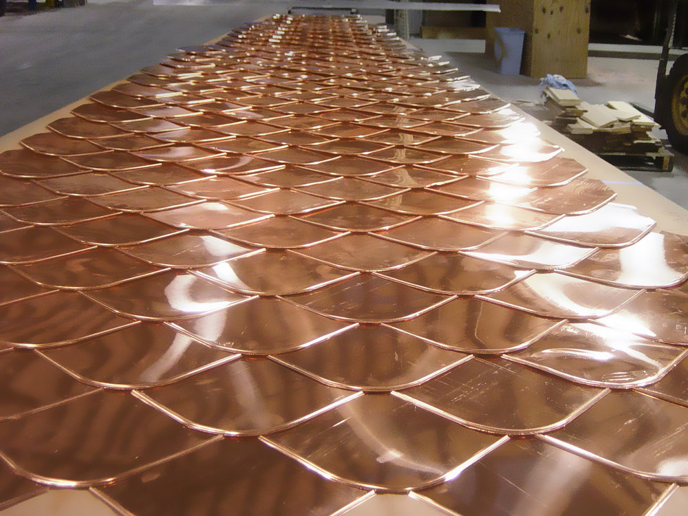 layered copper roof - fish scale copper