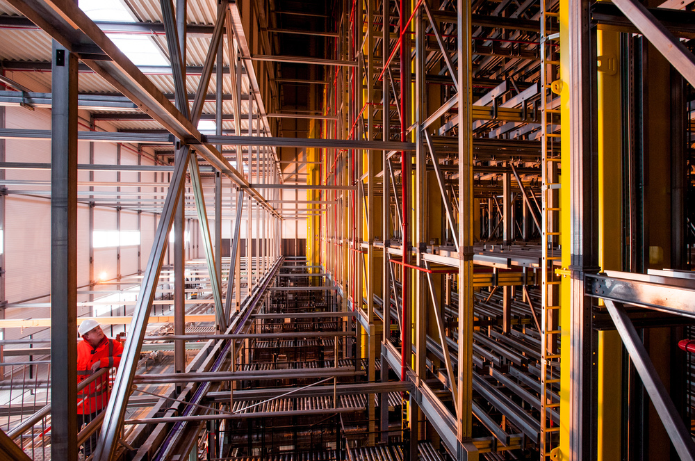 £30 Million Automated warehouse construction, Richard Stonehouse architectural photographer.