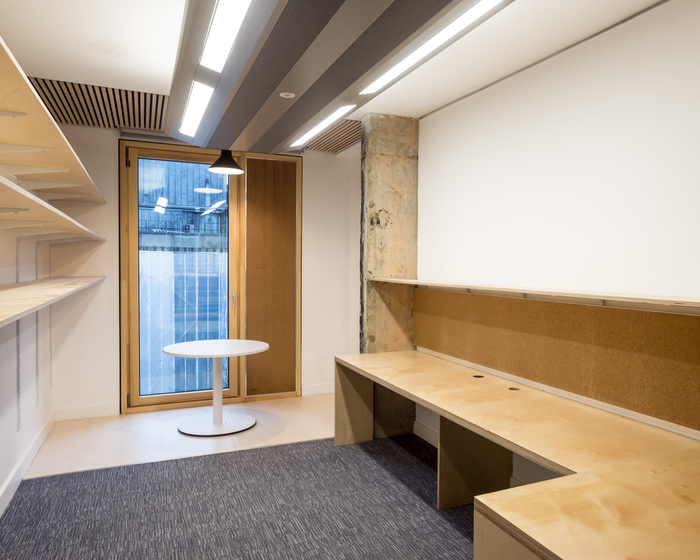 Lecturers office in the refurbished Bartlett School of Architecture, 22 Gordon Street. London by Hawkins/Brown Architects