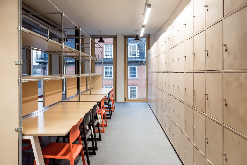 Student work spaces in  the refurbished Bartlett School of Architecture, 22 Gordon Street. London by Hawkins/Brown Architects