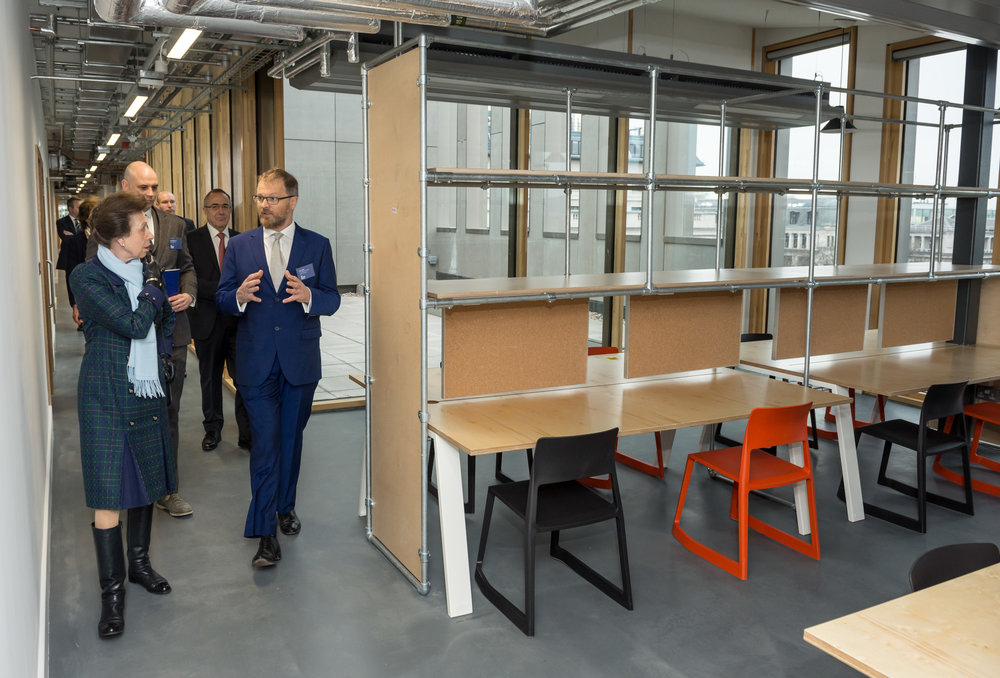Head of School Bob Sheil  with HRH Princess Anne as she tours the refurbished Bartlett School of Architecture before official opening the building by Hawkins/Brown Architects, 22 Gordon Street. London 16/12/2016