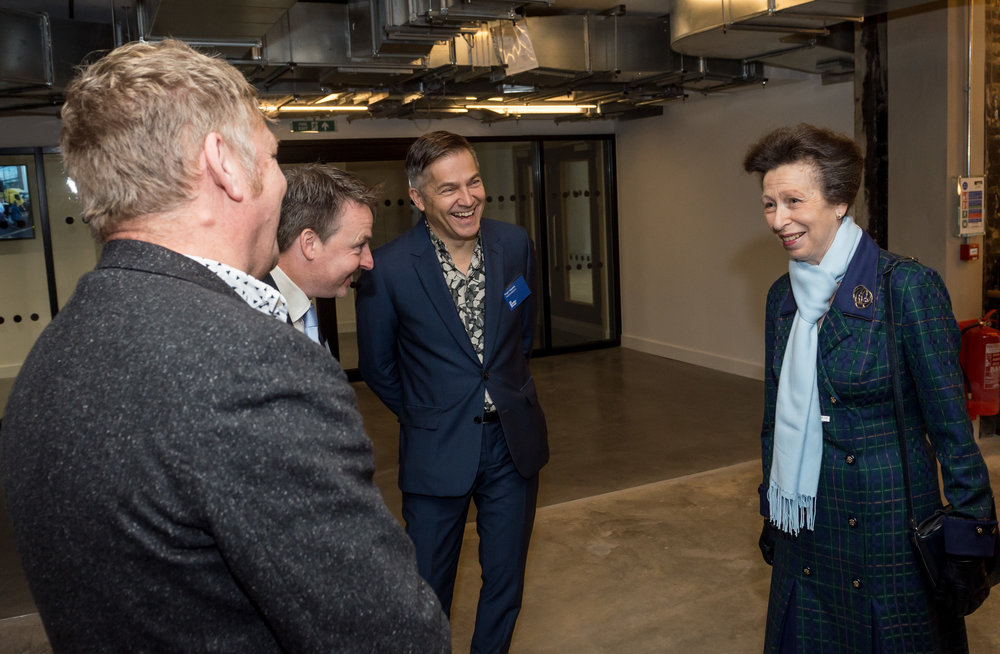 HRH Princess Anne chats with Roger Hawkins, Russell Brown Directors of the Project Architecture team Hawkins/Brown while touring the building before officially opening the refurbished  Bartlett School of Architecture, 22 Gordon Street. London 16/12/2016