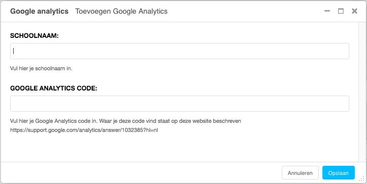 Vul de schoolnaam in en de Google Analytics Code