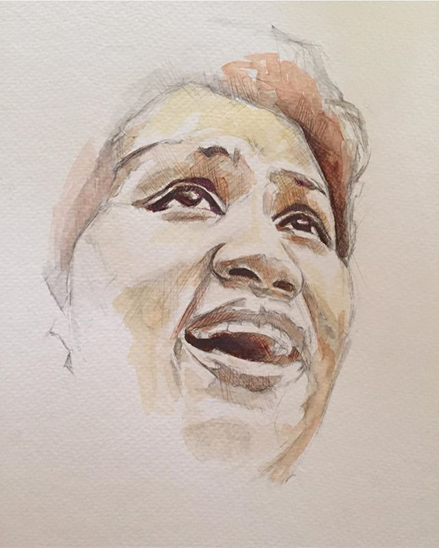 "😔✨💔// 🎨: @athena_astraea // ""Ms Aretha Franklin has been on my mind a lot since it was reported that she was ill. I drew this the other night. Her music and amazing voice has touched so many lives for so long. Sending virtual hugs, love and thank you to her for sharing her amazing gifts with us ♥️🙏🏽#arethafranklin #respect #queen #voice #wontbelong #musiclover #watercolor #pencil #colorpencil #art #artist #musician #piano #musicallegend  #portraitart #athenaastraea #wip"""