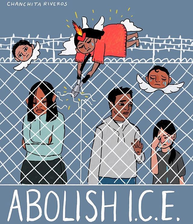 "✊🏽😔// 🎨: @chanchita_riveros // ""Fuck ice. Call your reps, raise awareness, donate to the non profits trying to get these people out of #trumpcamps, bring families back together, and help find the many missing youth and adults(many likely to have been trafficked). Do what you can, especially if you have the sheer dumb luck of being born in this country. Estoy aquí to support and #resistir  Also thank you @latinousa and @inthethickshow for keeping me informed on the current events. 🙏  #abolishice #fuckice #immigration #illustration #immigrationreform #prouddaughterofimmigrants"""