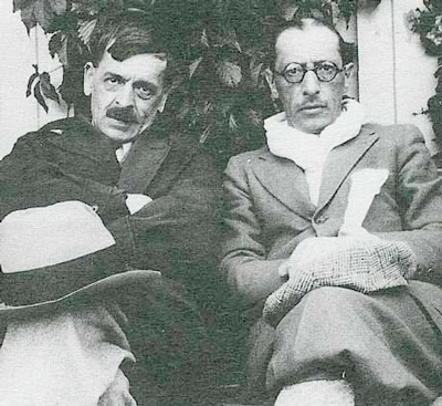 Composer Igor Stravinsky with writer C.F. Ramuz.