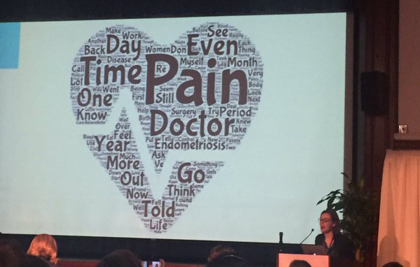 "Picture of Abby Norman presenting at Endofound's Patient Awareness Day. The slide presented is a word cloud of the words used in contributions to her Medium publication, Ask Me About My Uterus, in the shape of a heart. The words vary in size based on the frequency of their use; most used words were ""pain"" and ""time"""