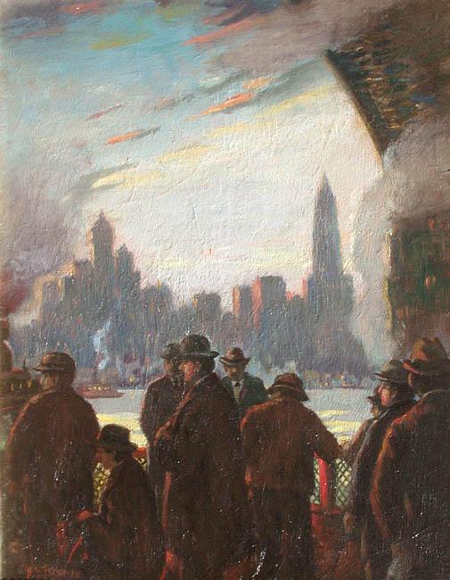 Herbert B. Tschudy | Fulton Street Ferry, Evening - NY
