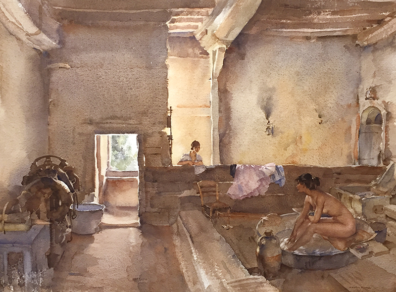 Sir William Russell Flint | The Chateau Bath, Equilly (Paméla Bathing)