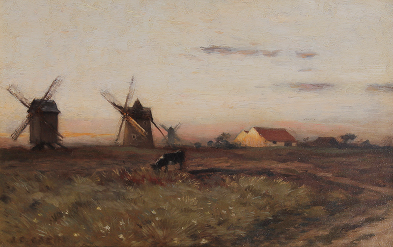 Jean Charles Cazin | Windmills at Sunset