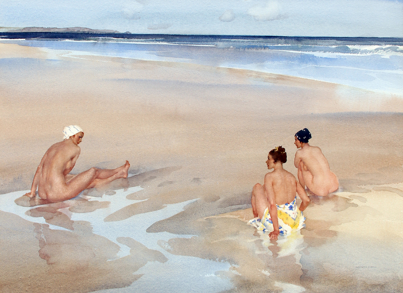 Sir William Russell Flint | Evelina, Mirabel and Alice on Bamburgh Sands (Northumberland)