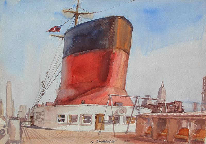 Reginald Marsh | The SS Normandie in New York Harbor