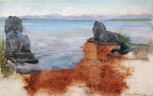 SIR LAWRENCE ALMA-TADEMA    A Lake in Bavaria   Oil on canvas laid down on panel 9 x 14 inches (22.7 x 35.6 cm) $23,000 Click here for more information