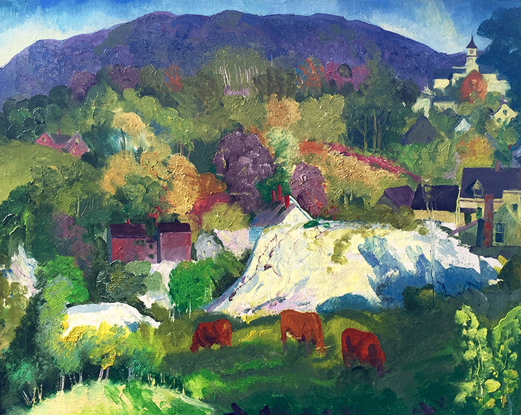 GEORGE WESLEY BELLOWS Village on the Hill – Camden, Maine Oil on canvas 22½ x 28½ inches (55.9 x 72.4 cm) P.O.R. Click here for more information