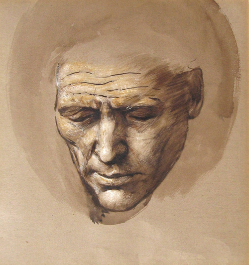 STUDIO OF SIR EDWARD COLEY BURNE-JONES    Head of a Sleeping Courtier   Watercolor on tan paper heightened with white 12 x 11½ inches (30.5 x 29.7 cm)  SOLD