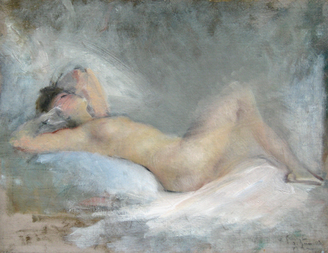 ATTRIBUTED TO COUNT ALBERT DE BELLEROCHE    A Reclining Nude   Oil on canvas 11 x 14 inches (27 x 35 cm) $12,000 Click here for more information