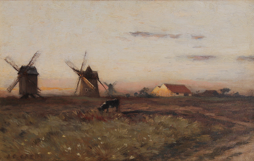 JEAN CHALES CAZIN    Windmills at Sunset   Oil on cradled panel 8¼ x 13 inches (21 x 33 cm)  SOLD