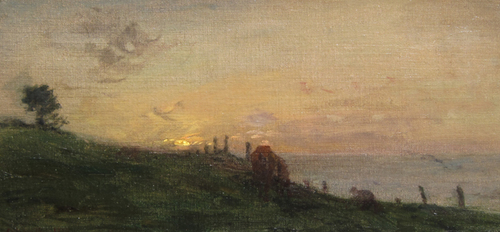 ADOLPHE FÉLIX CALS    Soleil couchant sur la falaise; Honfleur   Oil on canvas 6¼ x 13 inches (16 x 33 cm) $4,500 Click here for more information