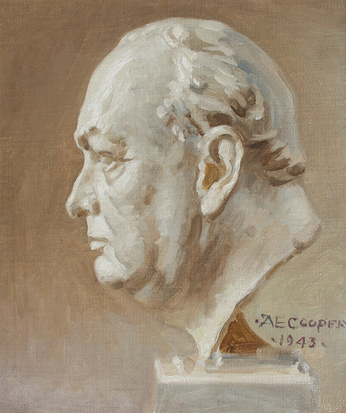 ALFRED EGERTON COOPER Bust of Winston Churchill Oil on canvas 18 x 15 inches (45.7 x 38.1 cm) SOLD