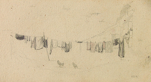 JEAN-BAPTISTE CAMILLE COROT    A Clothesline   Pencil on paper 4¾ x 9¼ (12 x 23.2 cm) $16,000 Click here for more information