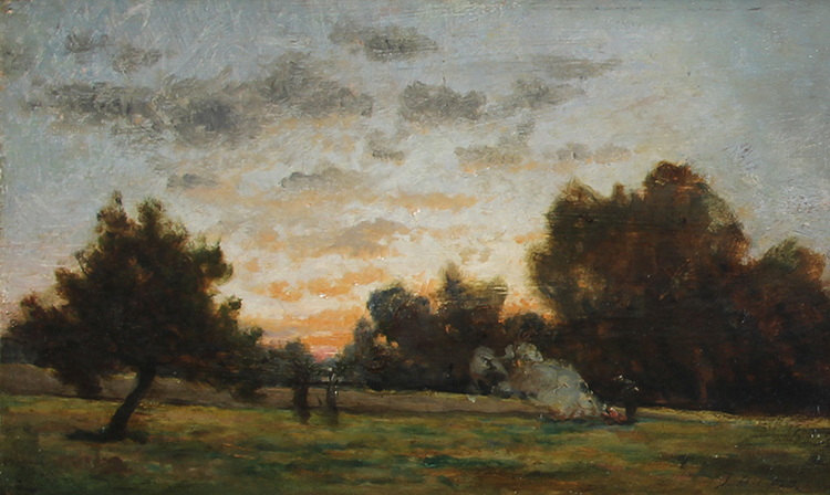 JULES DUPRÉ Paysan Tisonnant un Feu Oil on board 8½ x 14¼ inches (21.5 x 36.3 cm) SOLD