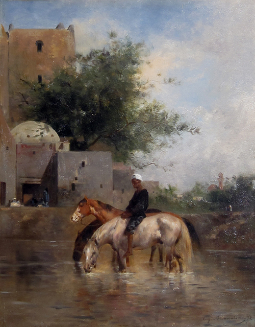 EUGÈNE FROMENTIN Watering Horses, Egypt Oil on panel 16 x 12½ inches (40.7 x 30.5 cm) $38,000 Click here for more information