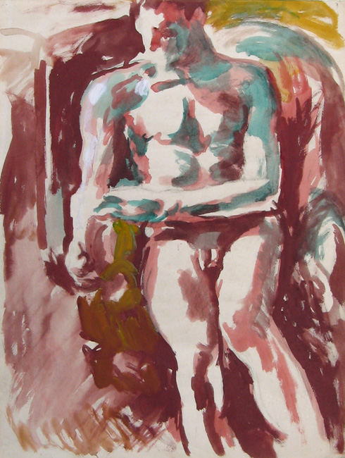 DUNCAN GRANT    Seated Male Nude   Watercolor and gouache on paper 24¾ x 18¾ inches (63 x 47.5 cm)  SOLD