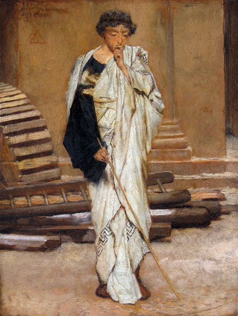 SIR LAWRENCE ALMA-TADEMA    The Roman Architect   Oil on panel 11½ x 8¾ inches (29.2 x 22 cm)  SOLD