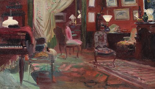 PIERRE GEORGES JEANNIOT    A Paris Interior   Oil on canvas 9¼ x 16 inches (23.5 x 40.6 cm) $8,500 Click here for more information