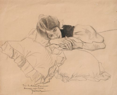 PIERRE GEORGES JEANNIOT    La Charmante Princesse     Charcoal on paper   11½ x 13¾ inches (29.2 x 35 cm)    SOLD