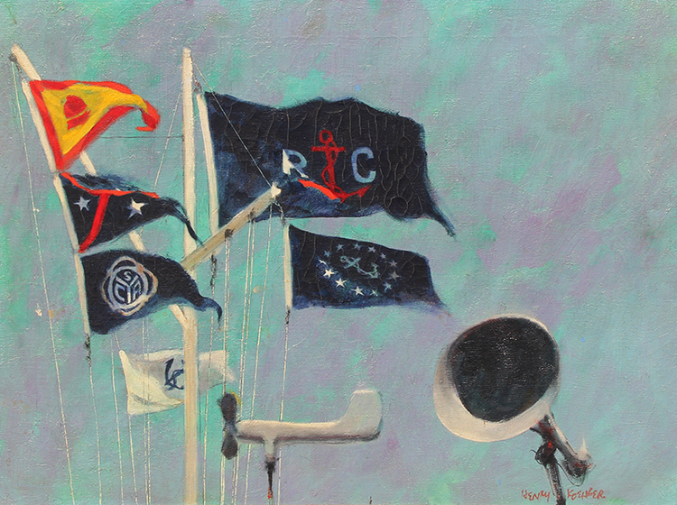 Mission Bay Yacht Club Flag Staff   Oil on canvas 18 x 24 inches (46 x 61 cm) $9,500 Click here for more information